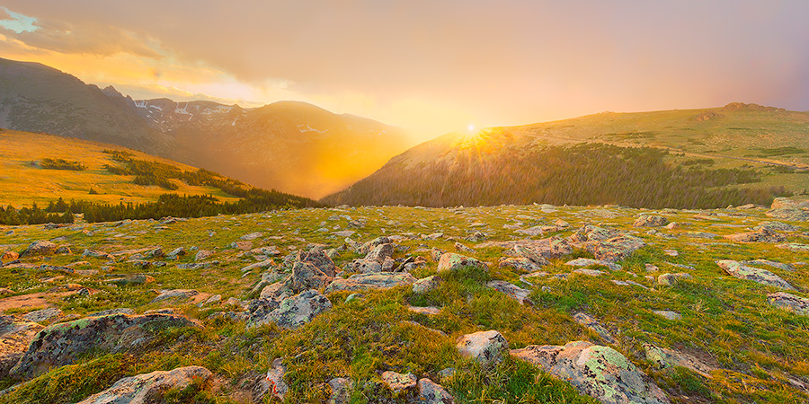 A landscape photograph of a beautiful sunset on the tundra of Rocky Mountain National Park in Colorado. - Colorado Photography