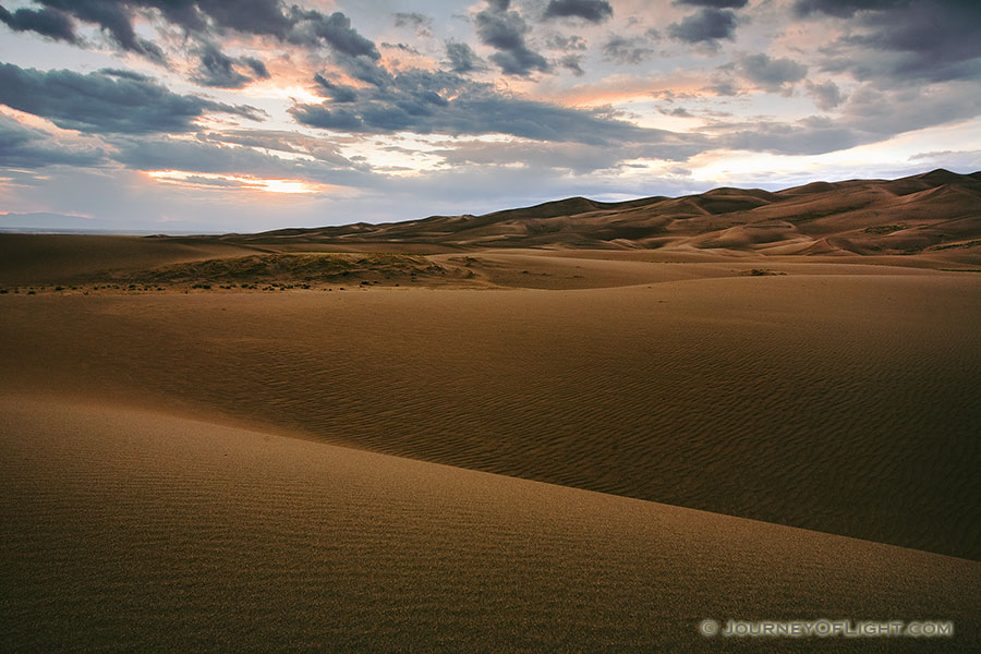 Near sunset the dunes appear to go to infinity. - Great Sand Dunes NP Photography