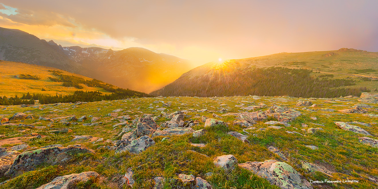A landscape photograph of a beautiful sunset on the tundra of Rocky Mountain National Park in Colorado. - Colorado Picture