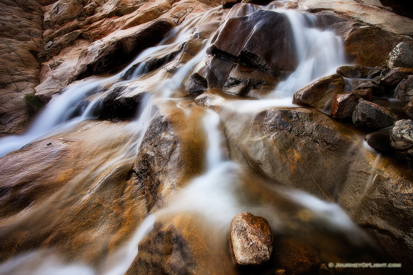 Water flows down Roaring River and into the Alluvial Fan near Horseshoe Park in Rocky Mountain National Park. - Rocky Mountain NP Picture