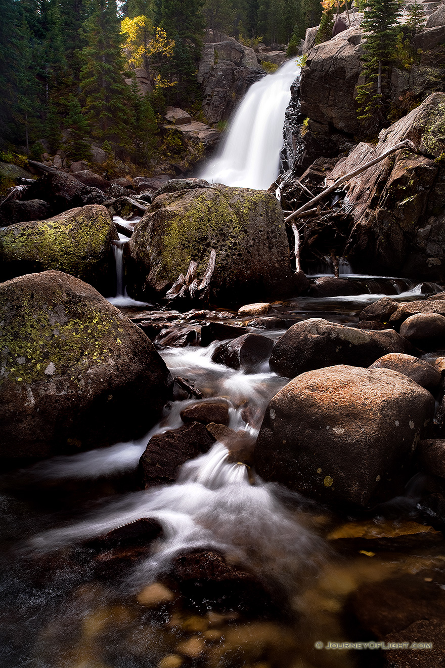 A popular hiking destination, Alberta falls at Rocky Mountain National Park roars downhill. - Rocky Mountain NP Picture
