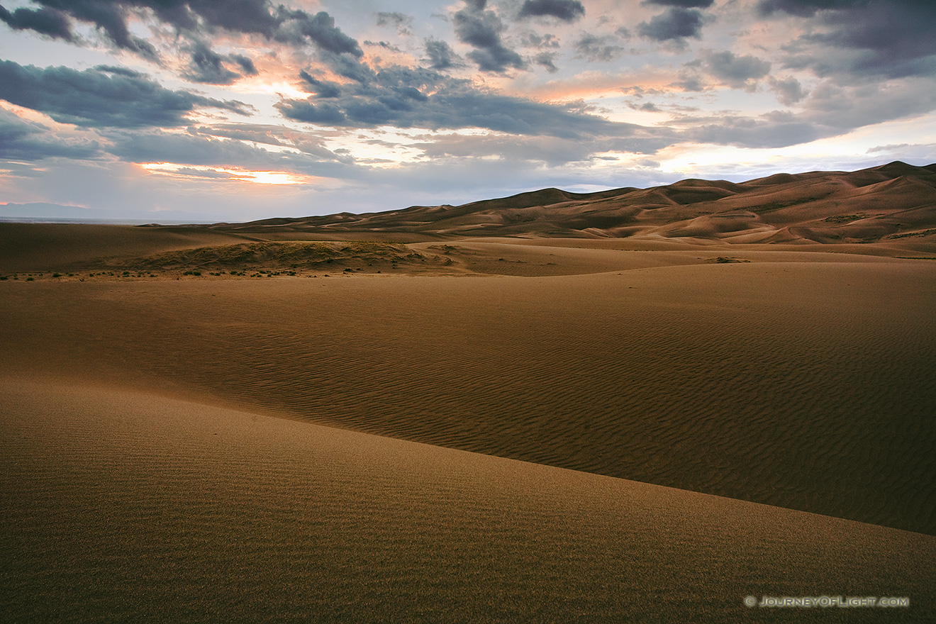 Near sunset the dunes appear to go to infinity. - Great Sand Dunes NP Picture