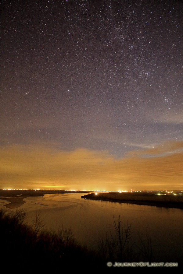 Stars shine brightly above the Missouri River at the Tri-State Overlook at Ponca State Park. - Ponca SP Photography