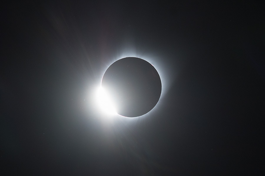 The Diamond Ring of the Total Solar Eclipse captured over Agate Fossil Beds National Monument in Northwestern Nebraska. - Agate Fossil Beds NM Photography