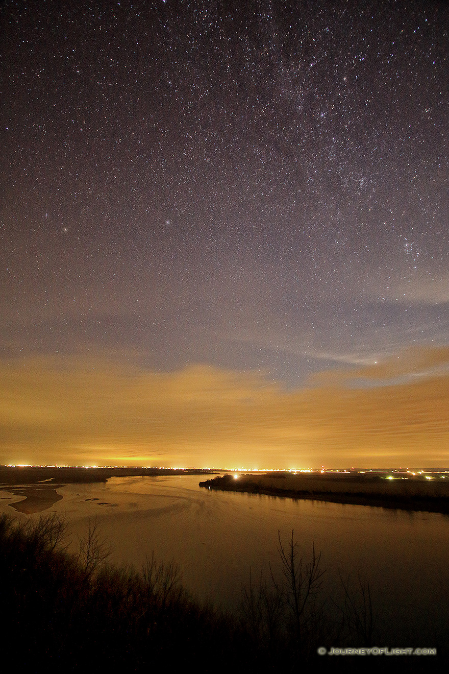 Stars shine brightly above the Missouri River at the Tri-State Overlook at Ponca State Park. - Ponca SP Picture