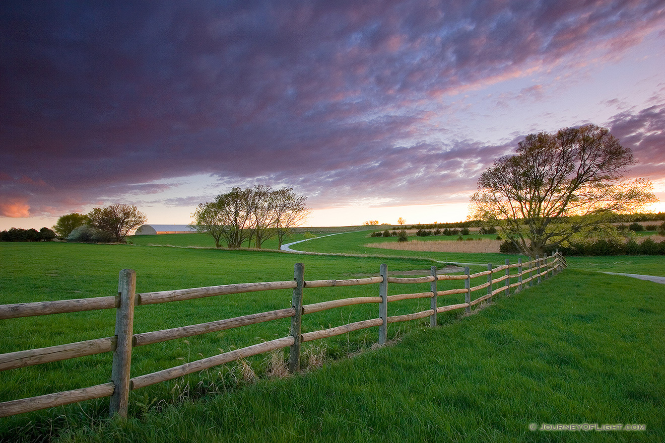 A photograph of a beautiful sunset at Mahoney State Park near Ashland, Nebraska. - Mahoney SP Picture