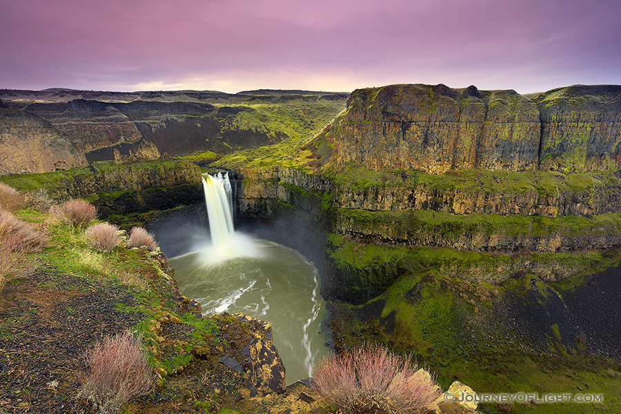 On a cool February evening the beautiful Palouse falls in south central Oregon cascades down almost 200 feet. - Pacific Northwest Photography