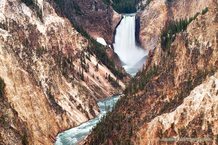 The Yellowstone River tumbles 308 feet into the Grand Canyon of the Yellowstone, the largest major waterfall by volume in the Rocky Mountains. - Yellowstone National Park Photograph Photography