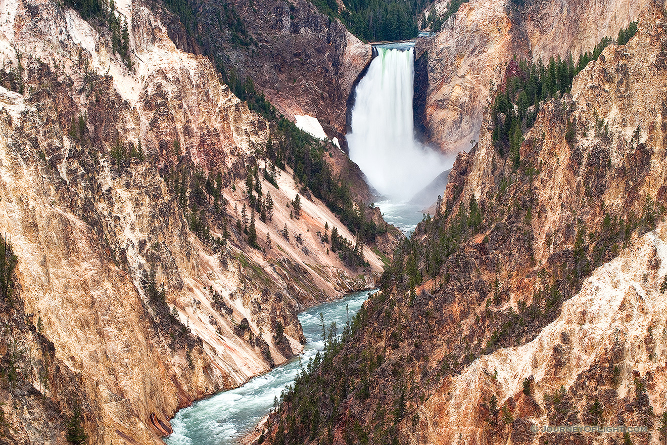 The Yellowstone River tumbles 308 feet into the Grand Canyon of the Yellowstone, the largest major waterfall by volume in the Rocky Mountains. - Yellowstone National Park Photograph Picture
