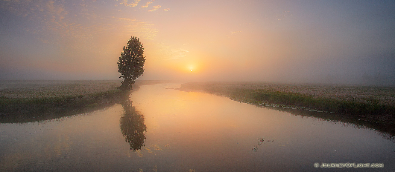 On a foggy morning I enjoyed this sunrise on the Gibbons River, the quiet, rhythmic trickling of the water the only sound. - Yellowstone National Park Picture
