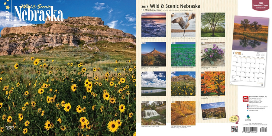 2017 Nebraska Calendar by Brown Trout.  Sold in Amazon, Retail Stores, and Calendar Club.  Contributed 8 Photographs Including Cover. -  Picture